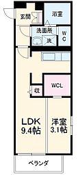 名古屋市営東山線 中村日赤駅 徒歩9分の賃貸マンション 2階1LDKの間取り
