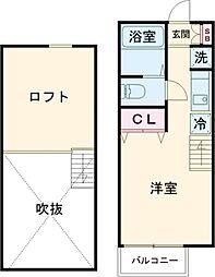 京王線 芦花公園駅 徒歩10分の賃貸アパート 2階ワンルームの間取り