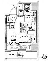 エルフォルテ五反田 10階ワンルームの間取り