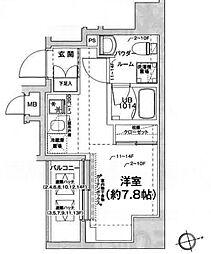 エルフォルテ五反田 13階ワンルームの間取り