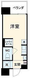 Hana House-Maezima 6階ワンルームの間取り