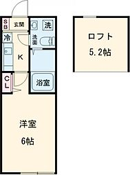 アザーレ・パッシオ町田 2階1Kの間取り