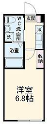 フロンティアアパートメント南太田 2階1Kの間取り