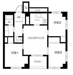 JR東北本線 尾久駅 徒歩4分の賃貸マンション 7階3LDKの間取り