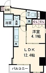 プラウドフラット西早稲田 6階1Kの間取り