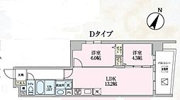 JR京浜東北・根岸線 大宮駅 徒歩10分の賃貸マンション 5階2LDKの間取り