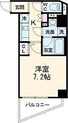 PREMIUM CUBE都立大学mo 2階1Kの間取り