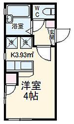 MY横浜戸塚 2階ワンルームの間取り