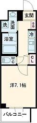 ラ・ぺルラ柿の木坂 地下1階1Kの間取り