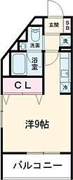 ラ・ぺルラ柿の木坂 2階ワンルームの間取り