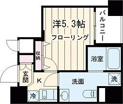 都営浅草線 戸越駅 徒歩3分の賃貸マンション 2階1Kの間取り