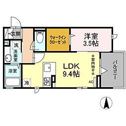 (仮)D-room柏町 3階1LDKの間取り