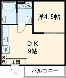 京王線 高幡不動駅 徒歩8分の賃貸アパート 地下1階1DKの間取り