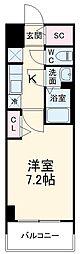名古屋市営名城線 東別院駅 徒歩2分の賃貸マンション 7階1Kの間取り