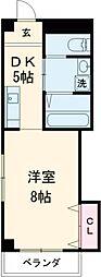 武石ビル 3階1DKの間取り