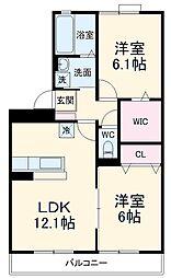 アメニティ―コート西泉丘 2階2LDKの間取り