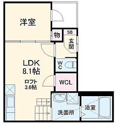 プライムパークス名駅西 2階1SLDKの間取り