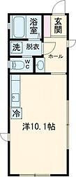 小田急小田原線 町田駅 徒歩9分の賃貸アパート 2階ワンルームの間取り