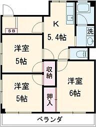 JR武蔵野線 北府中駅 徒歩7分の賃貸マンション 3階3Kの間取り