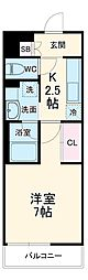 ラグゼナ武蔵新城 4階1Kの間取り