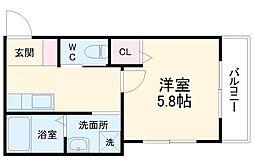 L&CスターハイツNo.17 3階1Kの間取り