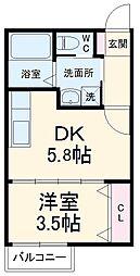 JR常磐線 松戸駅 バス8分 美野里町下車 徒歩2分の賃貸アパート 2階1DKの間取り