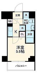 京急本線 京急川崎駅 徒歩6分の賃貸マンション 9階1Kの間取り
