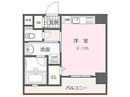 福岡市地下鉄空港線 大濠公園駅 徒歩8分の賃貸マンション 4階1Kの間取り