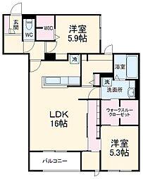 (仮称)D-room北桜塚3丁目 2階2LDKの間取り