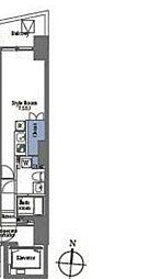 プライムブリス笹塚 3階ワンルームの間取り