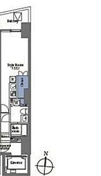 プライムブリス笹塚 4階ワンルームの間取り