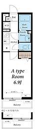 JR南武線 西国立駅 徒歩13分の賃貸アパート 2階ワンルームの間取り