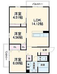 (仮称)D-room上野東二丁目 2階3LDKの間取り