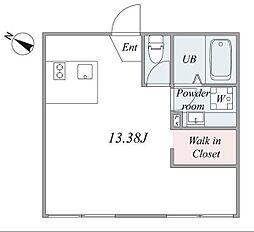 trias731 1階ワンルームの間取り