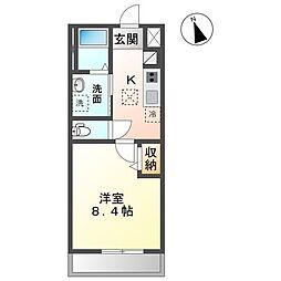 JR常磐線 水戸駅 4.6kmの賃貸アパート 1階1Kの間取り