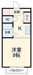 愛知高速東部丘陵線 公園西駅 徒歩19分の賃貸アパート 4階1Kの間取り