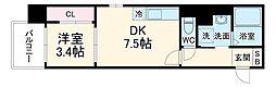 Etincell 7階1DKの間取り