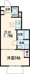 京王線 仙川駅 徒歩13分の賃貸アパート 1階1DKの間取り