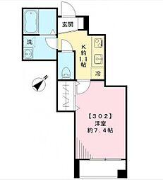 東急大井町線 旗の台駅 徒歩2分の賃貸マンション 3階1Kの間取り