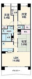 ライオンズマンション千葉グランドタワー 3階3LDKの間取り
