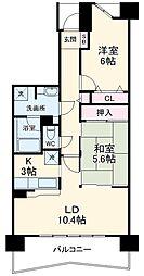 ライオンズマンション千葉グランドタワー 3階2LDKの間取り