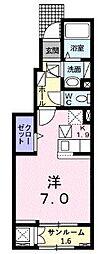 JR常磐線 荒川沖駅 5.7kmの賃貸アパート 1階1Kの間取り