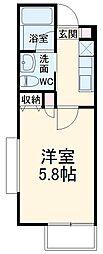 仮称)宮本6丁目AP 2階1Kの間取り
