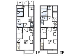 JR両毛線 前橋駅 徒歩20分の賃貸アパート 2階1Kの間取り
