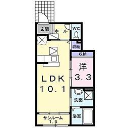 JR常磐線 東海駅 徒歩11分の賃貸アパート 1階1LDKの間取り
