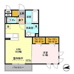 GT asako 3階1LDKの間取り