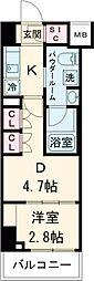 ARKMARK志茂Sta. 8階1DKの間取り