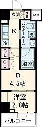 ARKMARK志茂Sta. 9階1DKの間取り