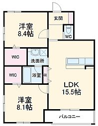 JR東海道本線 静岡駅 徒歩14分の賃貸マンション 3階2LDKの間取り