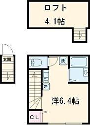 バーミープレイス東小金井II 2階ワンルームの間取り
